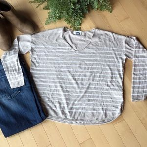 Light Weight Striped V-neck Sweater
